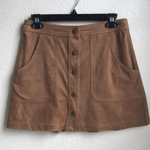 Brandy Melville Tan Brown Suede Button Up Skirt